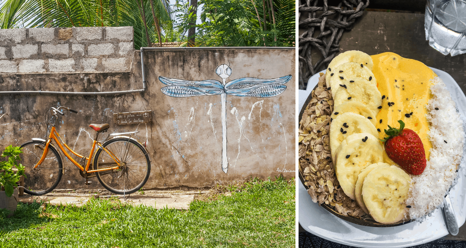 Smoothie-Bowl und Innenhof der Aloha Coffee Gallery in Mirissa, Sri Lanka