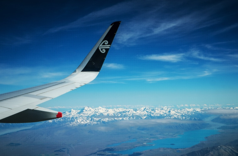 Air New Zealand Flugzeug Flügel