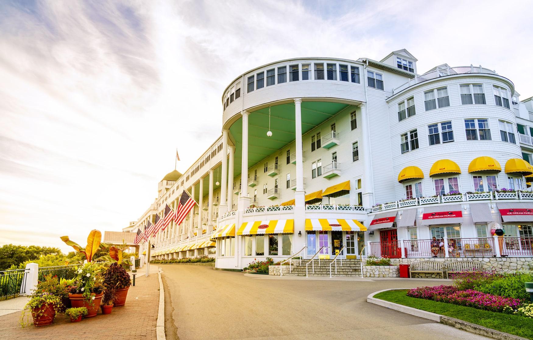 Fassade des grand Hotel auf Mackinac Island in den USA