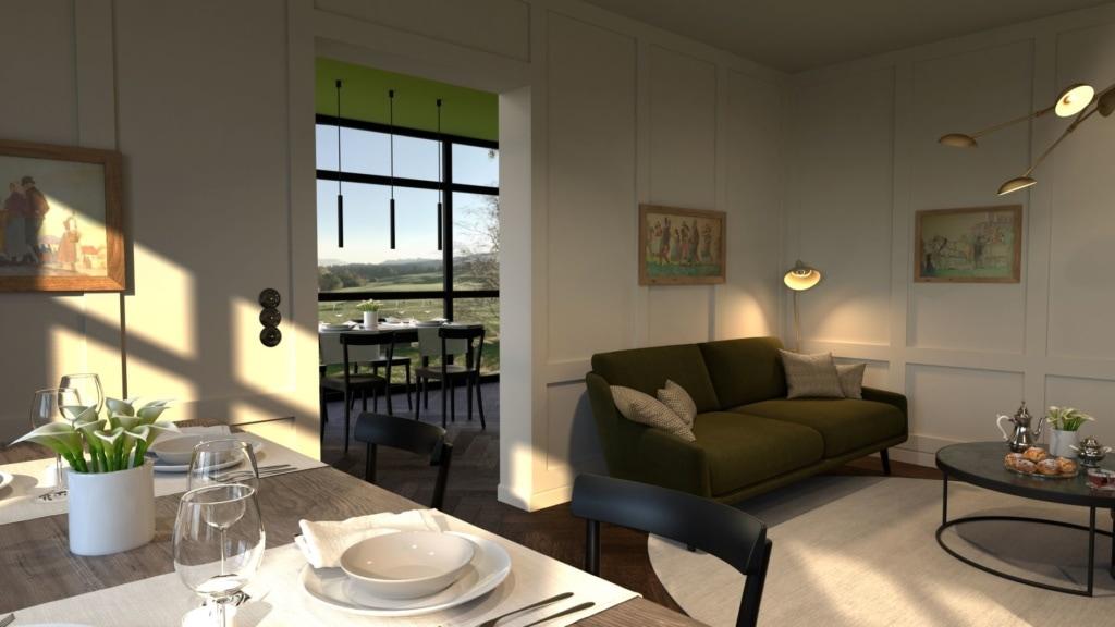 Restaurant und Wohnzimmer in der Alpenloge