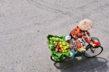 Fahrradfahrer in Vietnam