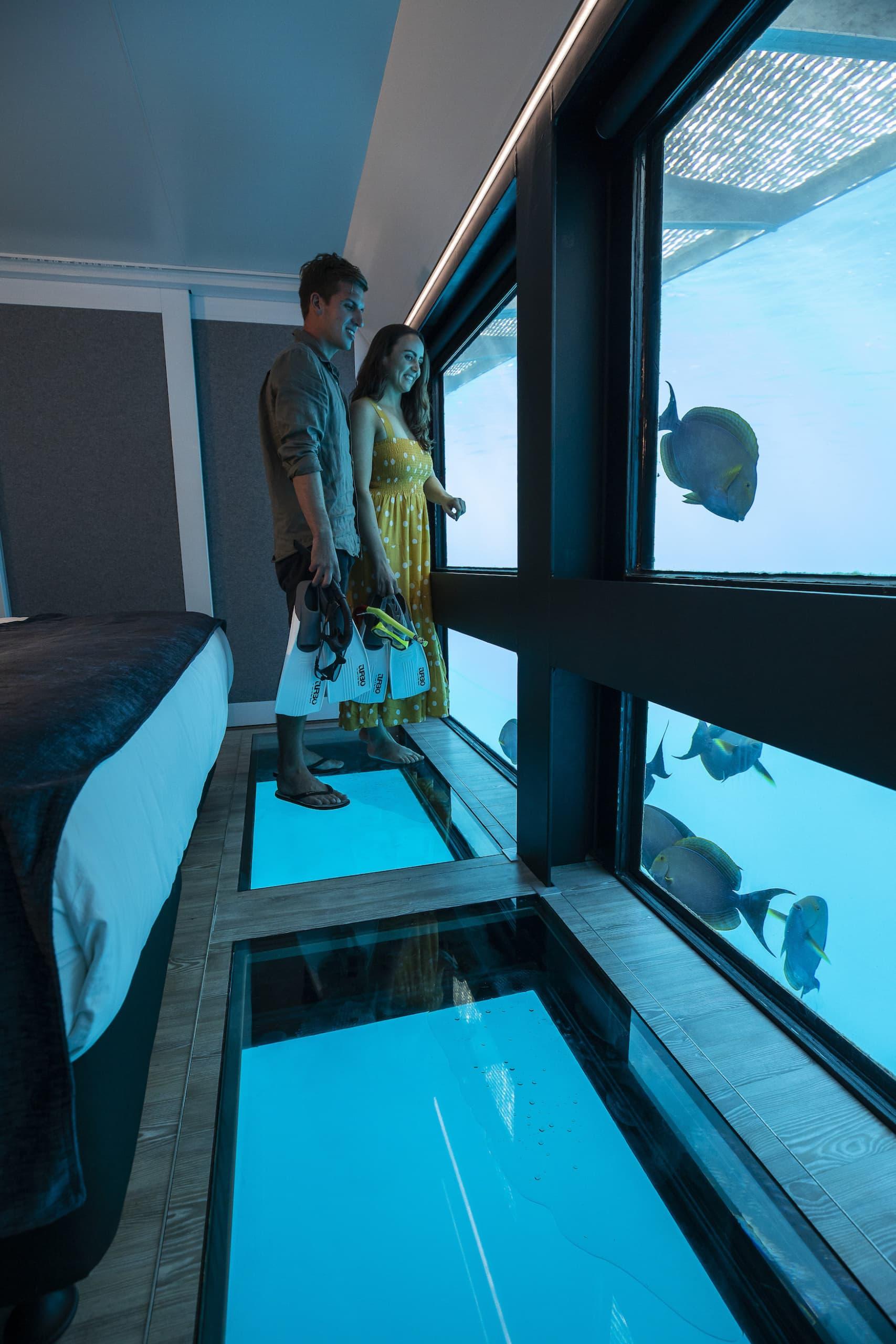Paar schaut sich aus der Unterwassr-Suite der Reefsuites auf den Whitsundays Fische an