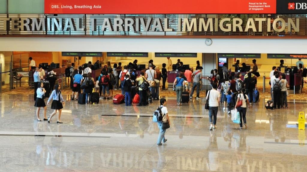 Immagration am Flughafen Singapur