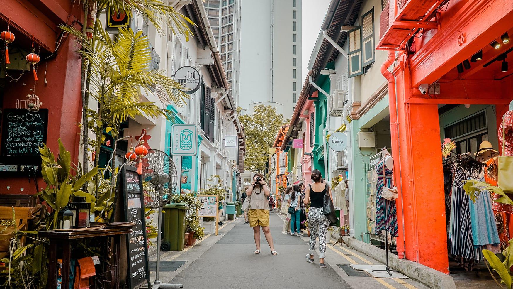 Bunte Shops auf der Haji Lane in Singapur