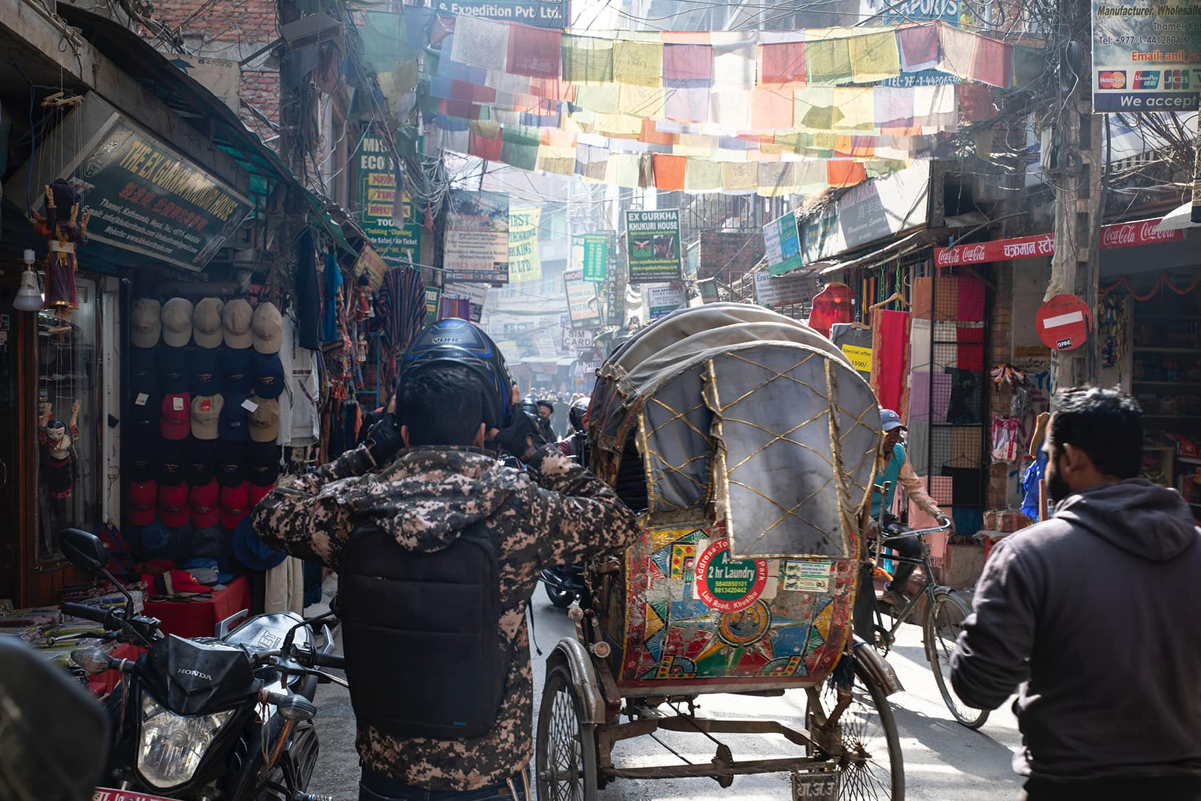 Volle Straßen in Kathmandu, Nepal