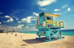 Blaue Strandhütte in Florida