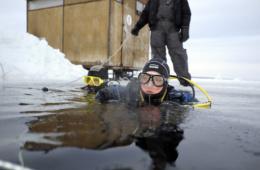 Taucher blickt aus Eiswasser