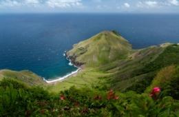 Landschaft, Blick aufs Meer von Insel Saba in der Karibik