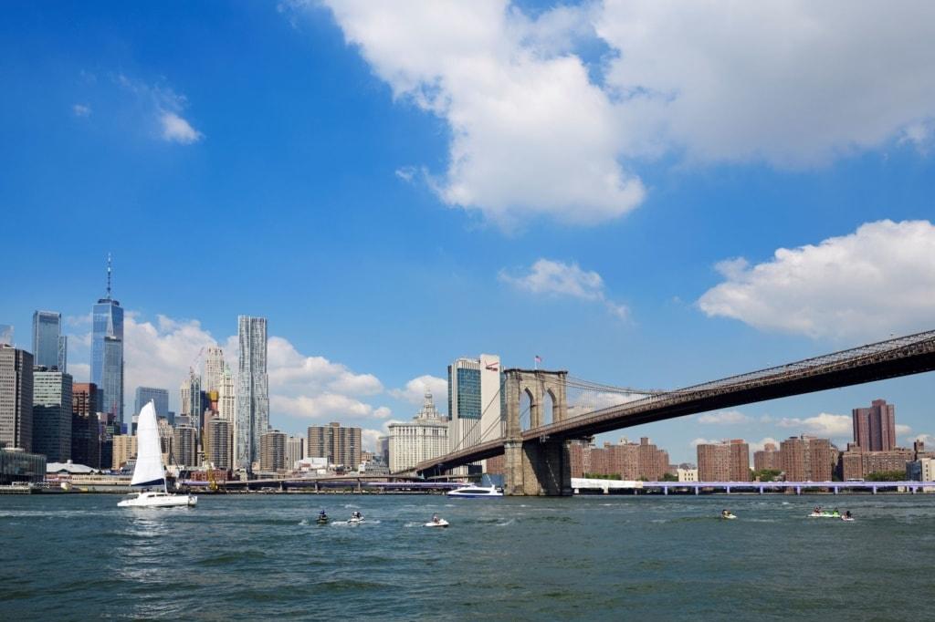 Ausblick auf New York vom Wasser aus