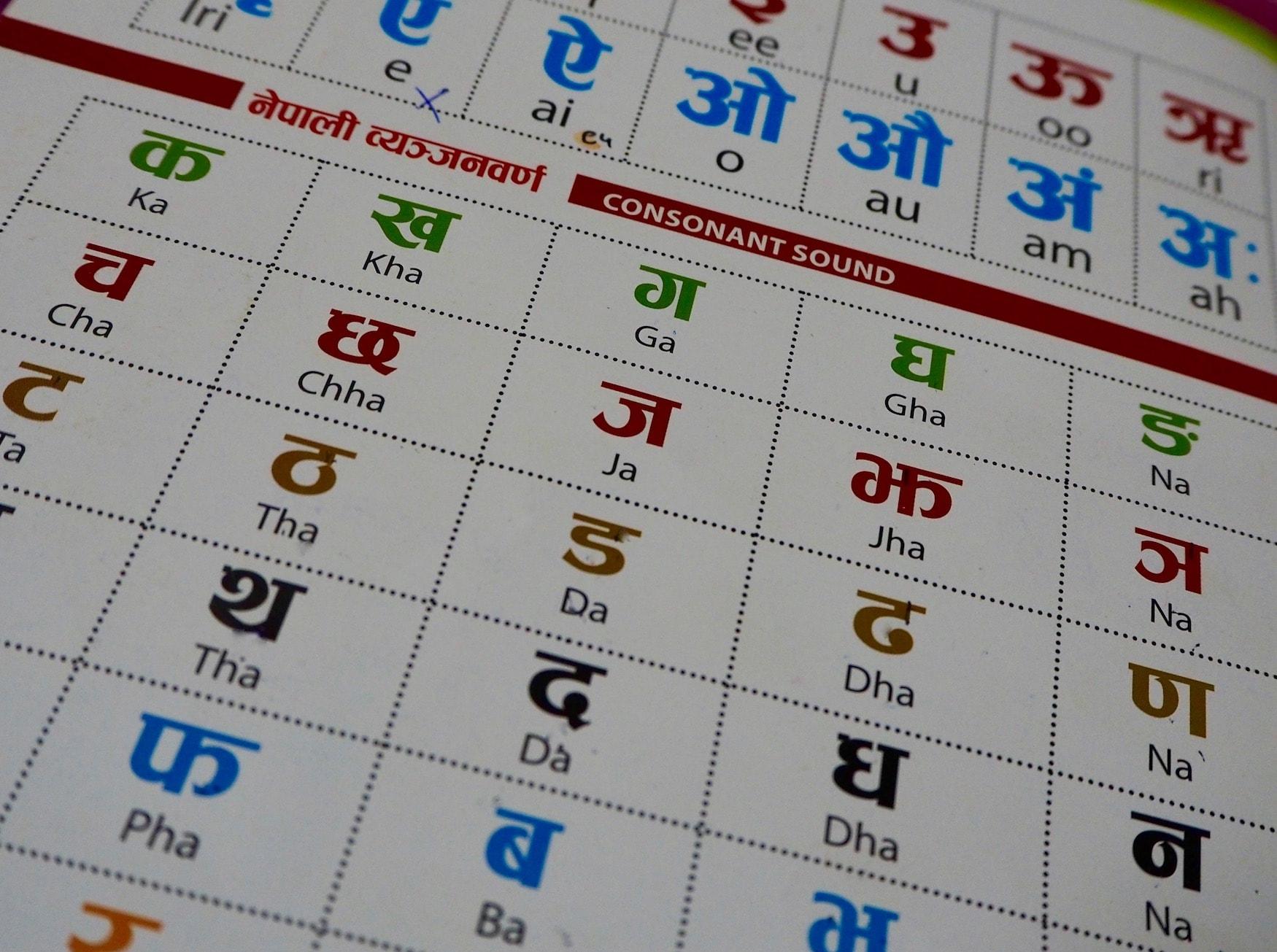 Nepalesische Schriftzeichen