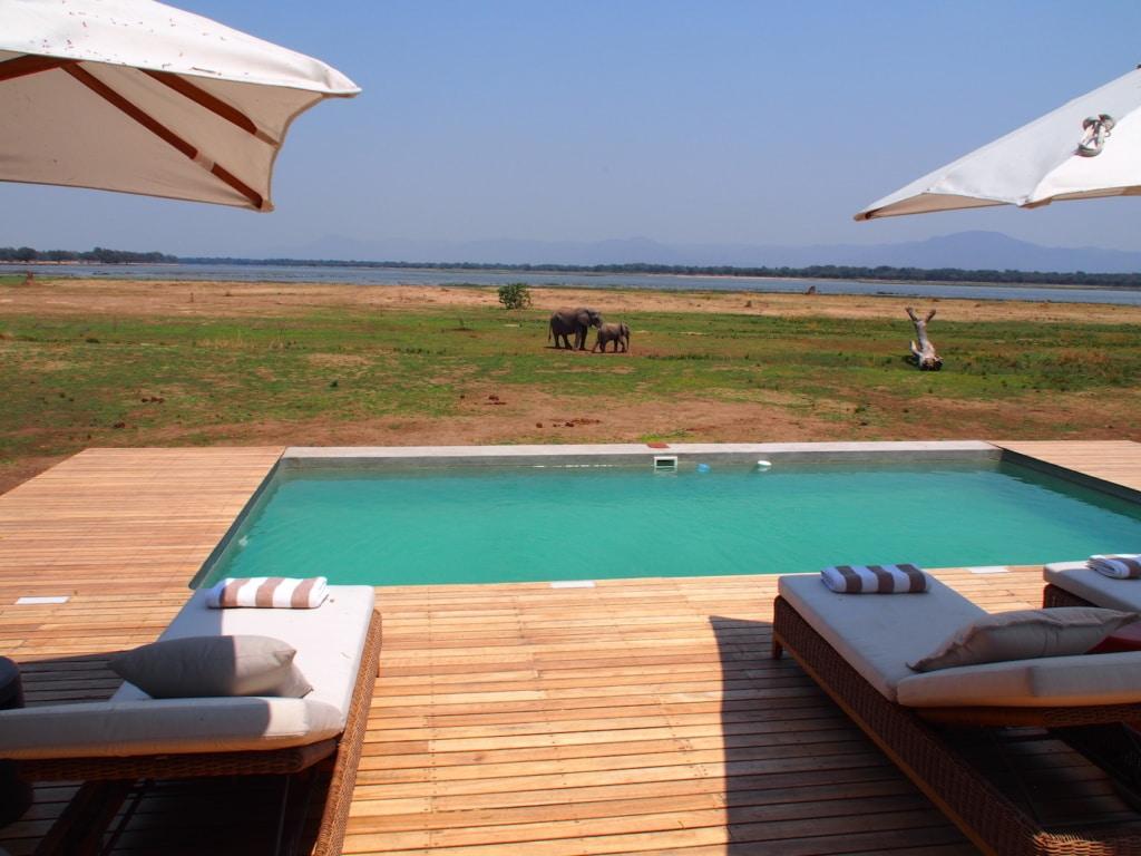 Der Pool im Chikwenya Camp lädt zur Erfrischung ein.