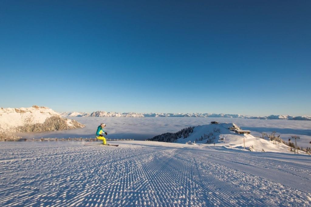 Skifahrer im Kärtner Winter