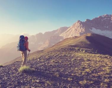 Wanderer in den Bergen in Tadschikistan