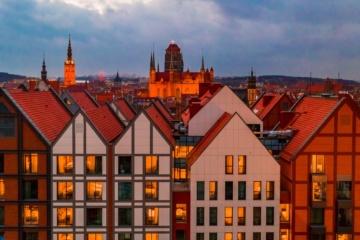 Radisson Gdansk Fassade Zimmer Silhouette