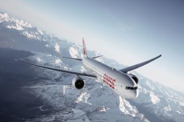 Flugzeug der Swiss in der Luft