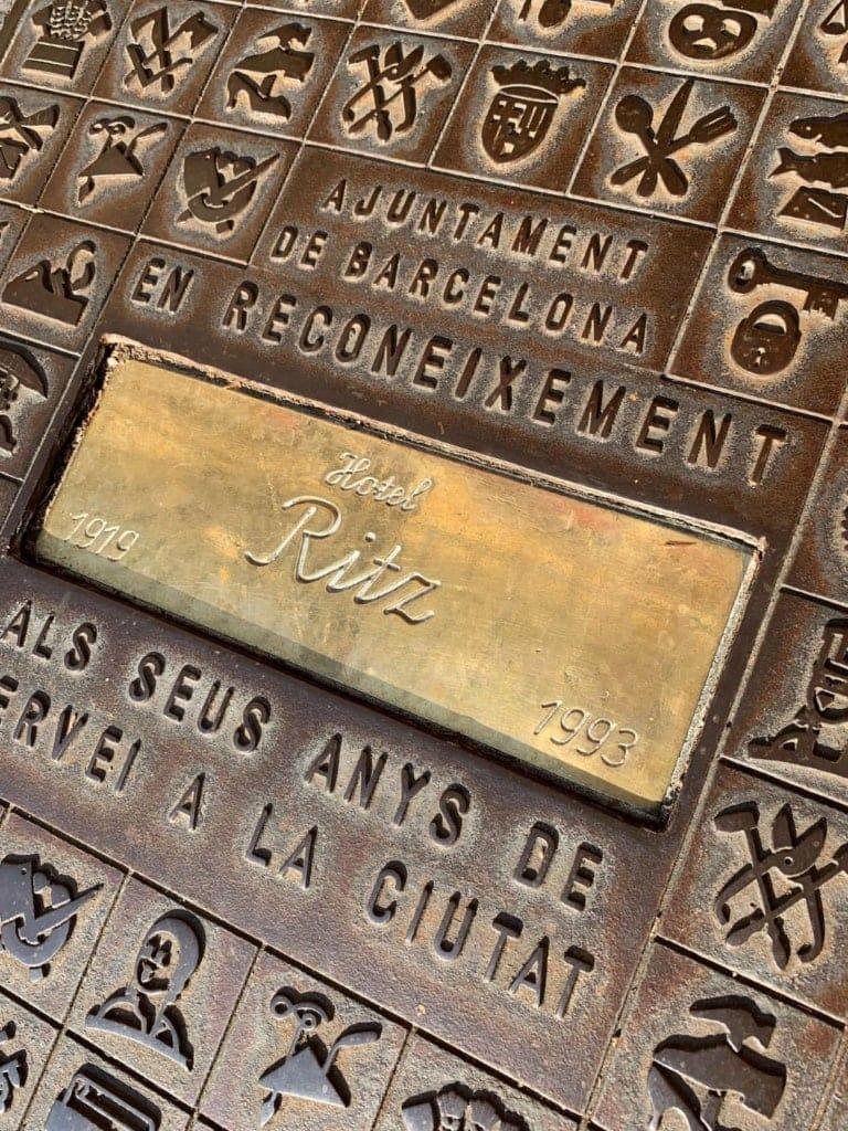 Hotel-Ritz-Gedenkstein im El Palace, Barcelona
