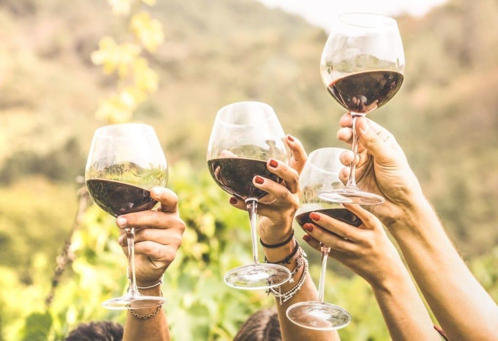 Hände halten Rotweingläser hoch