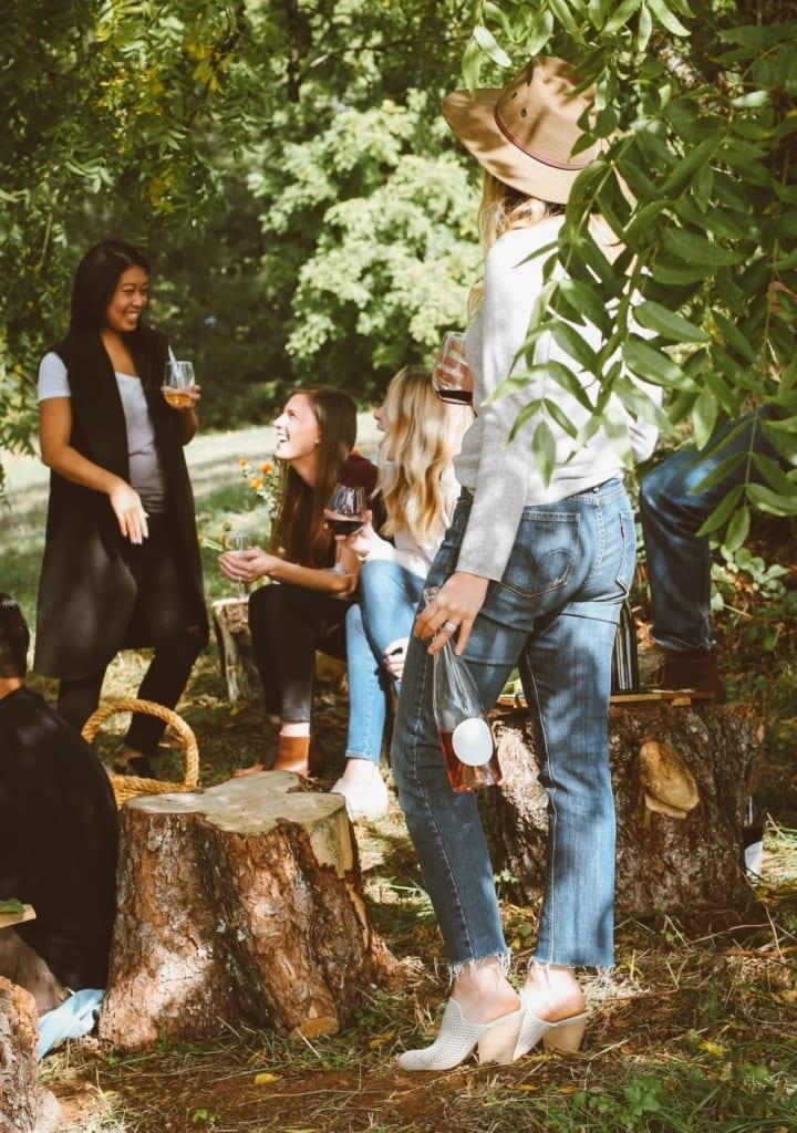 Junge Frauen stehen und sitzen auf einer Wiese und trinken Wein