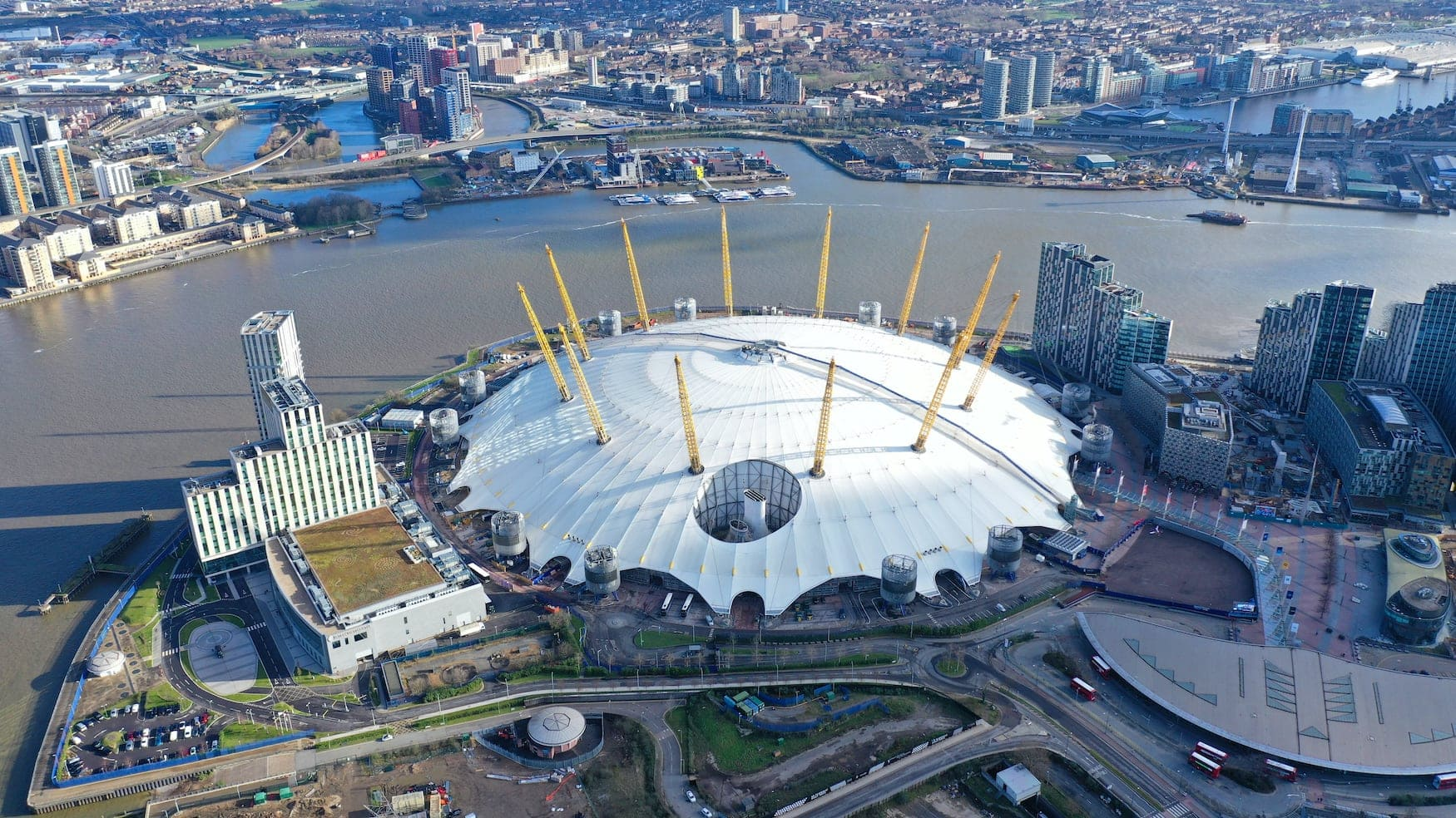 O2-Arena in London aus der Vogelperspektive