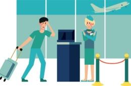 Animationsgrafik Passagier Flug verpasst