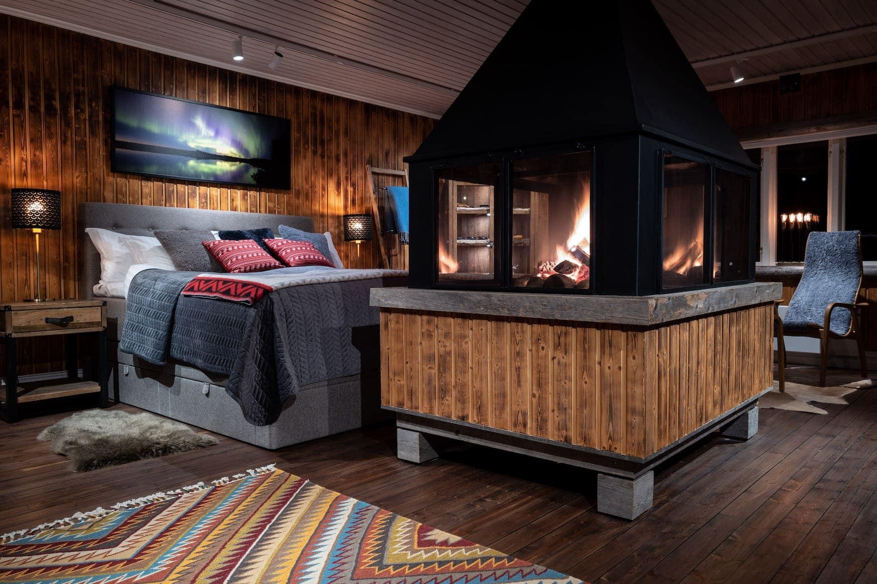 Loggers Lodge in Schwedisch Lappland Nordlichter