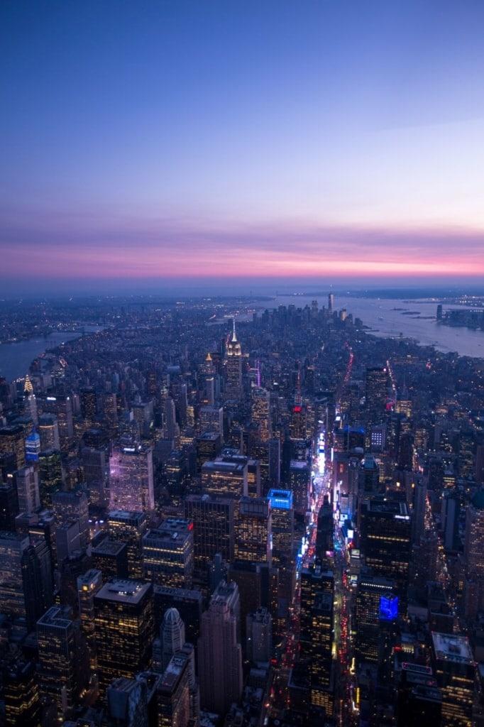 New York in der Abenddämmerung, Luftaufnahme