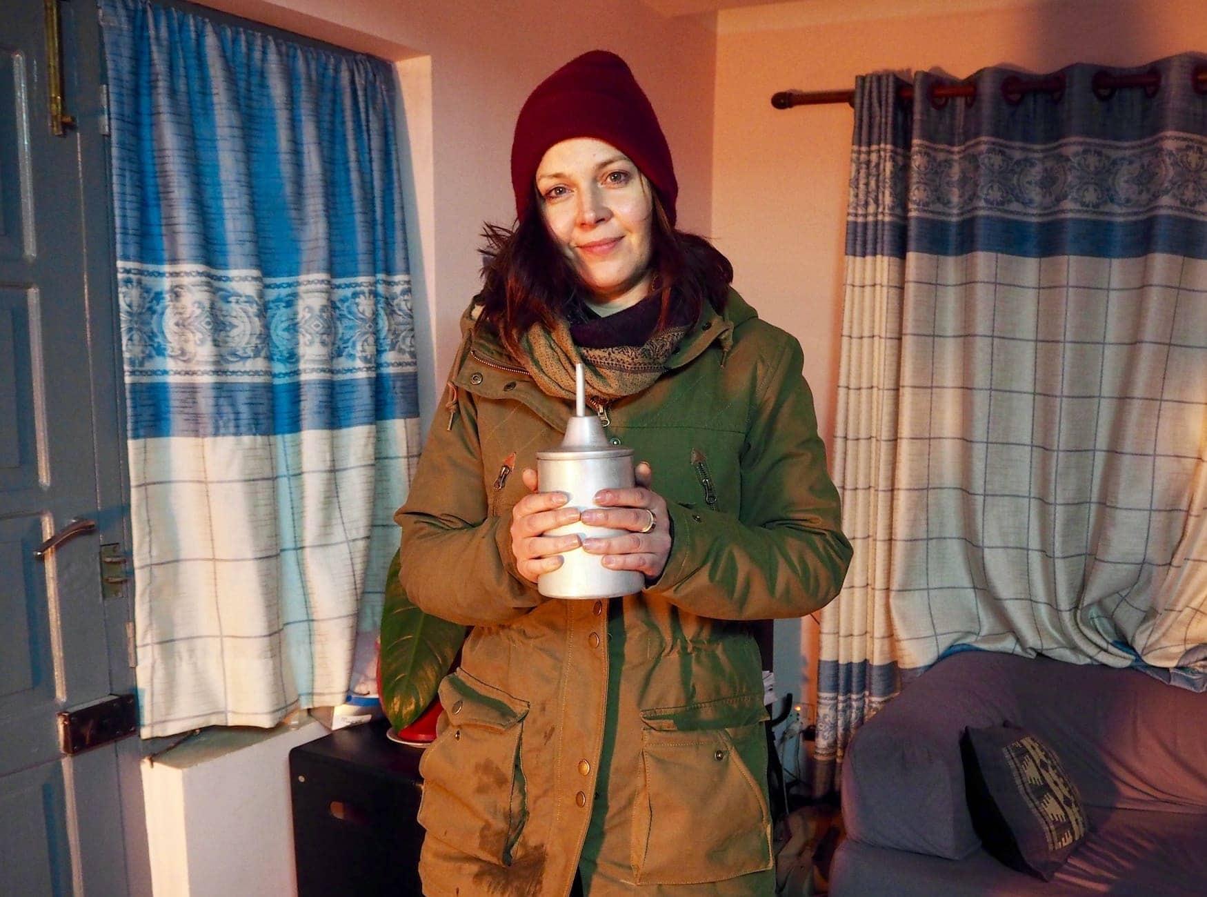 Kolumnistin Susanne eingepackt in ihrer Winterjacke