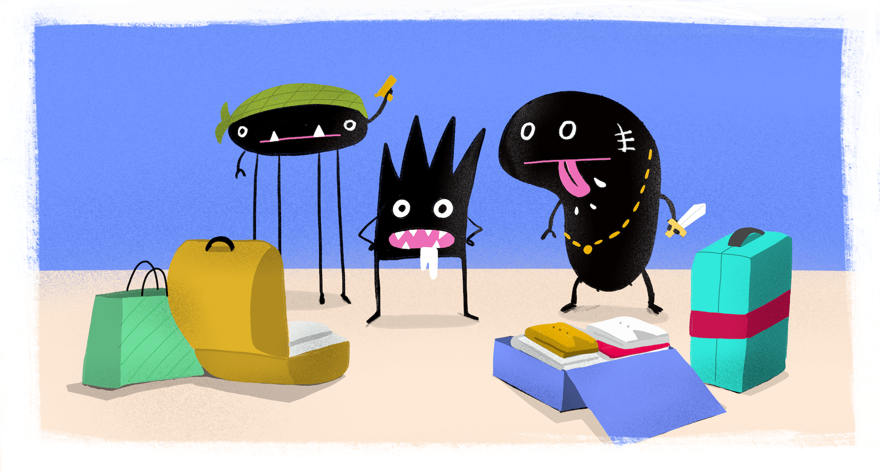 Drei illustrierte Bakterien die sich in Koffer befinden