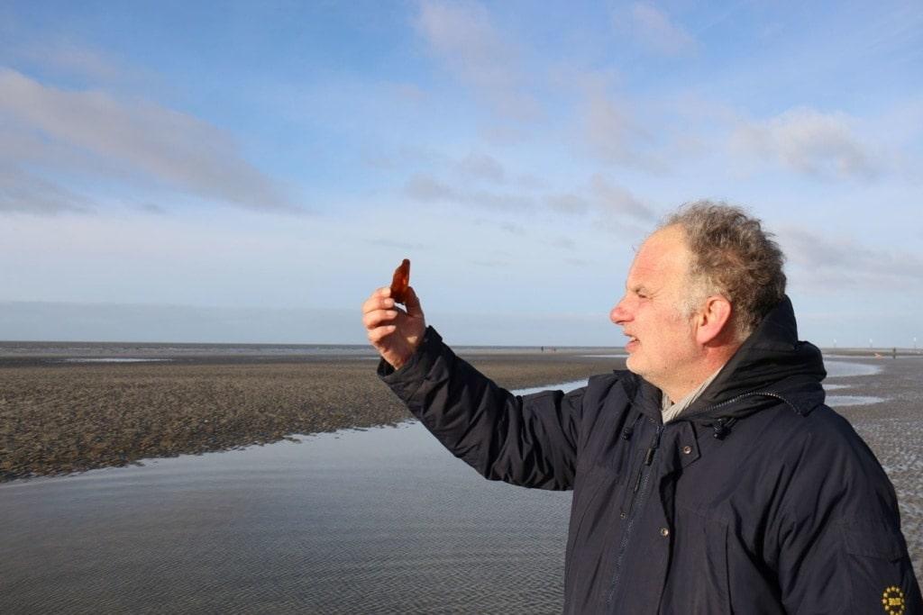 Boy Jöns betrachtet Bernstein in der Nordsee