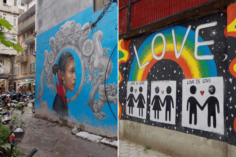 Zwei Street-Art-Werke in Kathmandu, Nepal