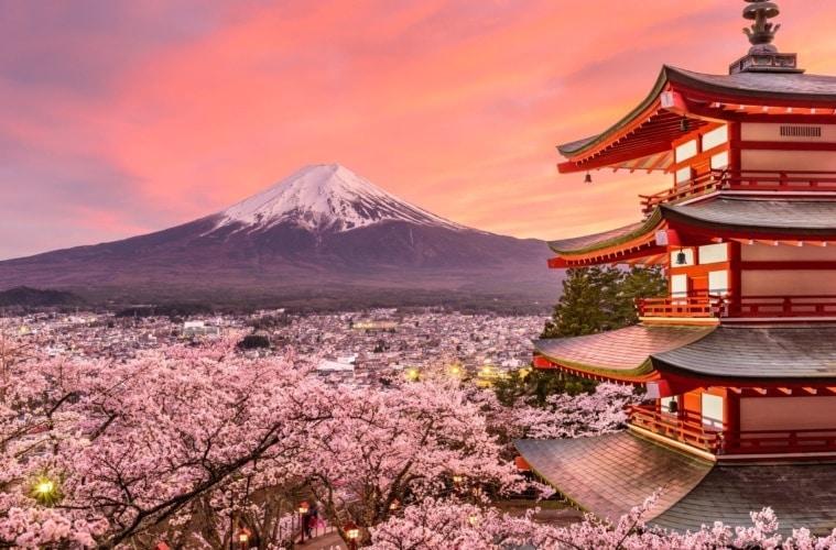 Kirschbaumblüte Fujiyoshida Japan