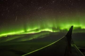 Polarlichterflug: Blick aus Fenster