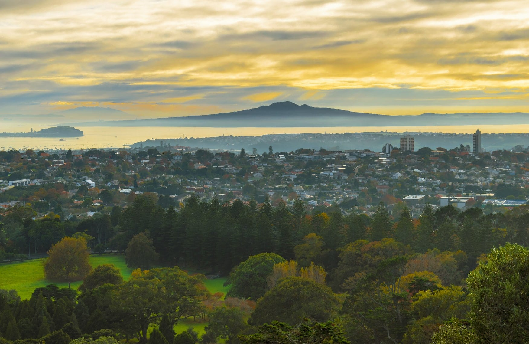Blick von der Rangitoto Island auf Auckland, neuseeland