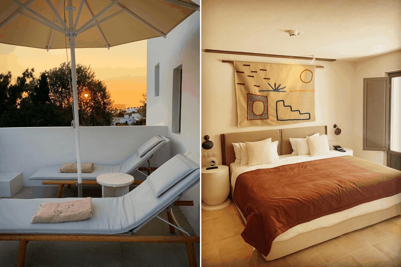 Warme Naturfarben dominieren das Tnerior im parilio Designhotel auf Paros, griechenland