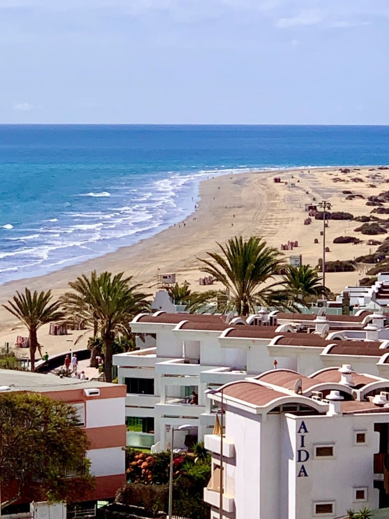 Blick auf Hotels und Strand Playa del Ingles