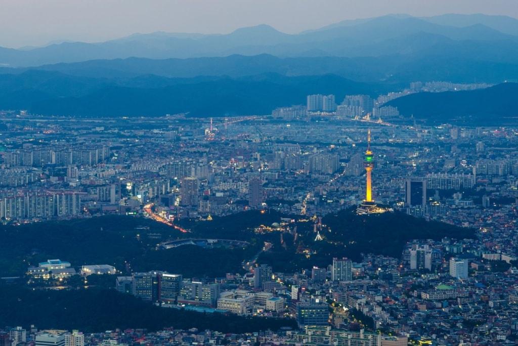 Panoramablick auf Daegu, Stopp auf unserer Südkorea-Reise.