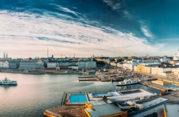 Blick auf den Hafen von Helsinki