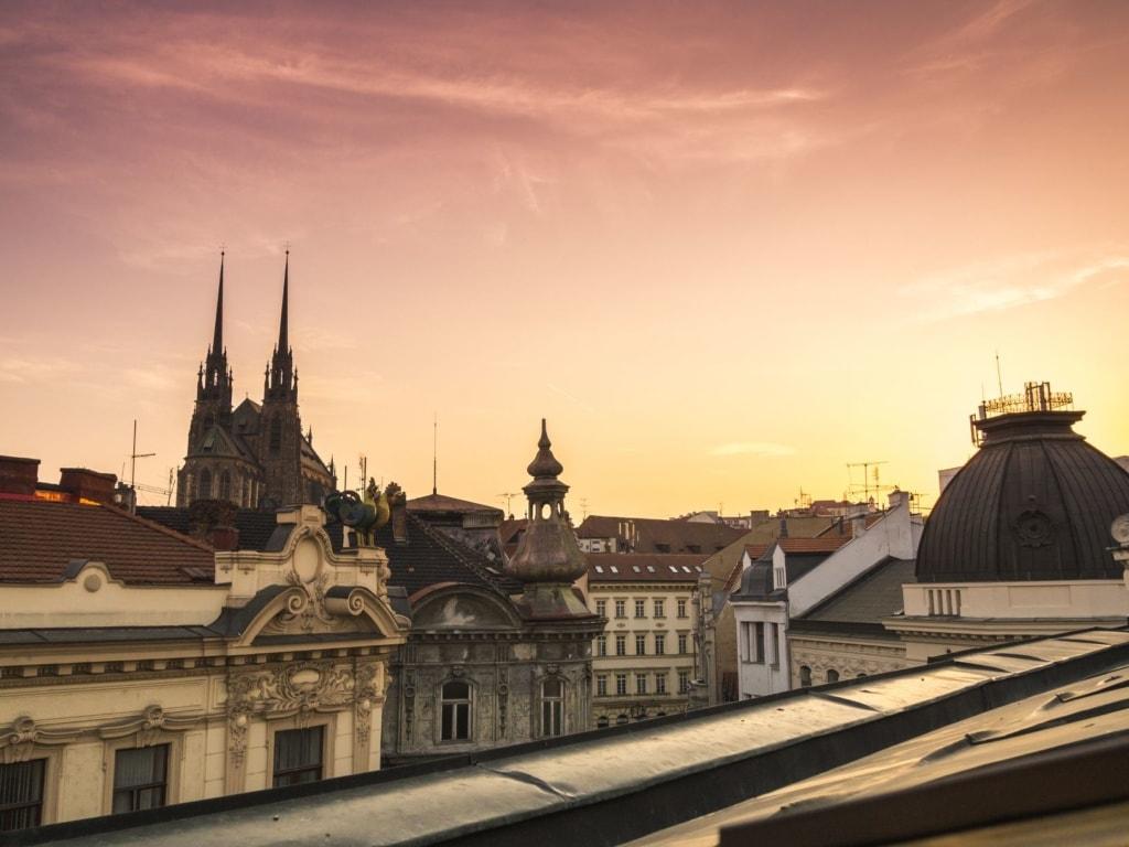 Blick auf die Kathedrale St. Peter und Paul in Brünn