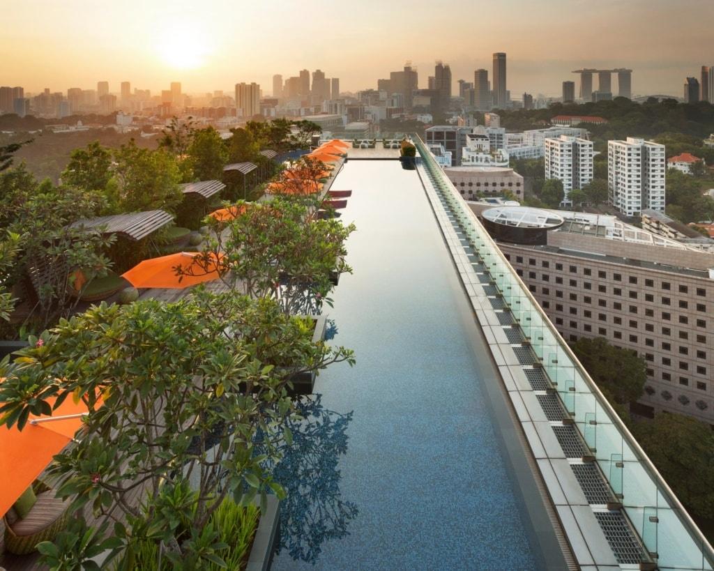 Schönsten Hotelpools: Infinity Pool auf dem Dach des Hotel Jen Orchardgateway