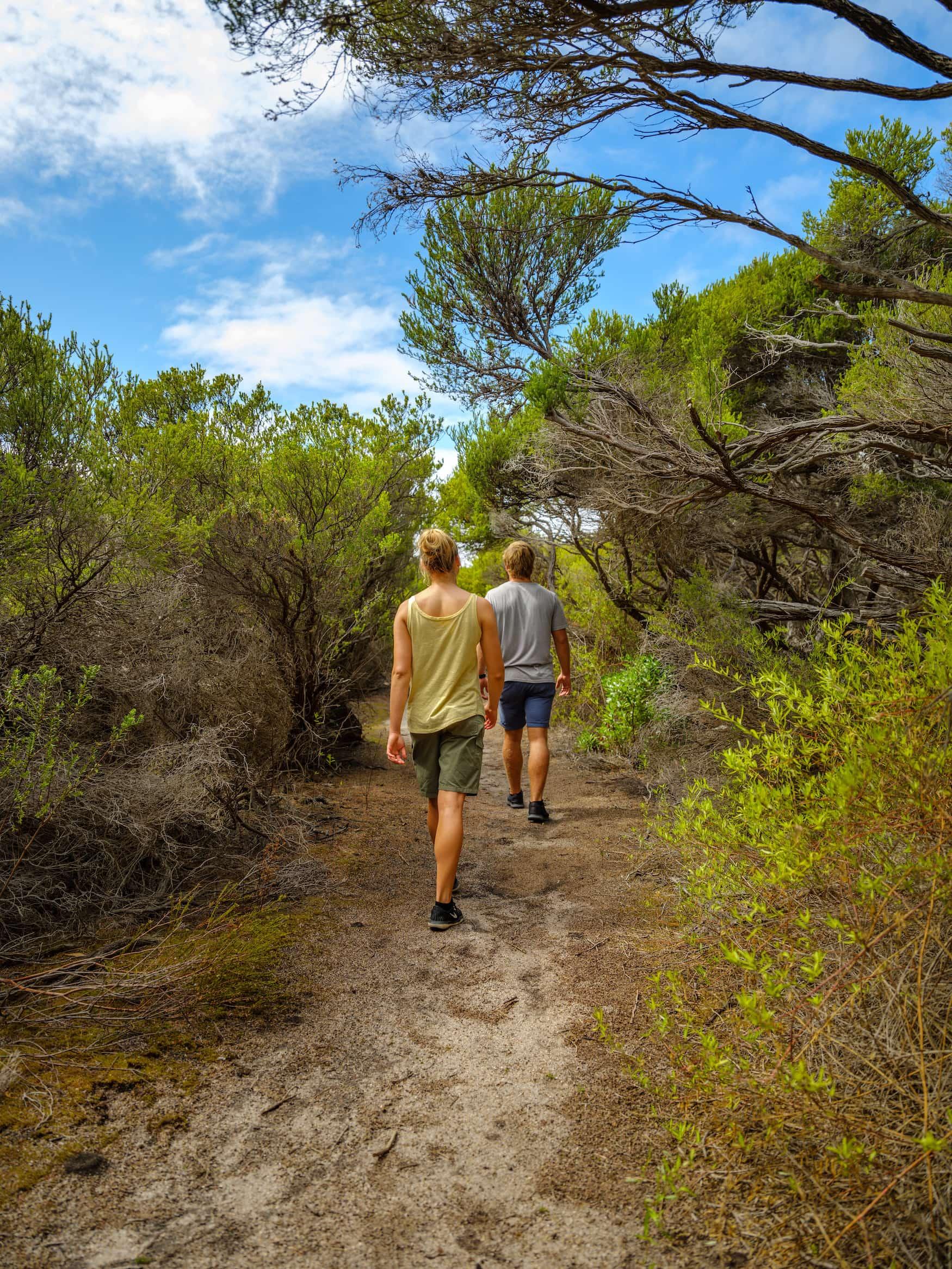 Zwei Touristen wandern durch grüne Landschaft auf Woody Island, Westaustralien