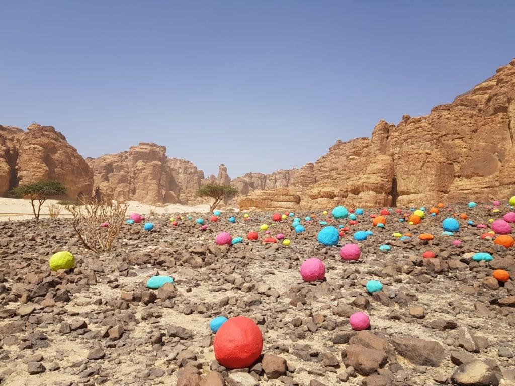 Kunstwerk in der Wüste bei Winter at Tantora
