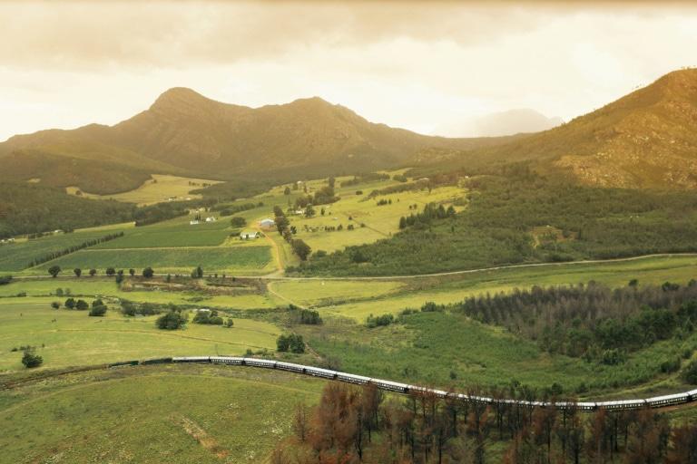 Der Rovos Rail gehört definitiv zu den luxuriösesten Unterkünften der Welt. Hier fährt er durch grüne afrikanische Landschaft.