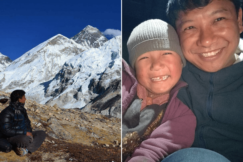 Nepalesischer Träger Ngima Tenji Sherpa in Bergregion in Nepal