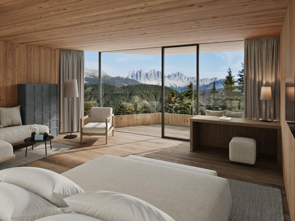 Luxuriöse Unterkünfte gibt es viele: Das Forestis in Südtirol überzeugt auch durch die spektakuläre Bergkulisse, auf die man vom Bett aus blickt