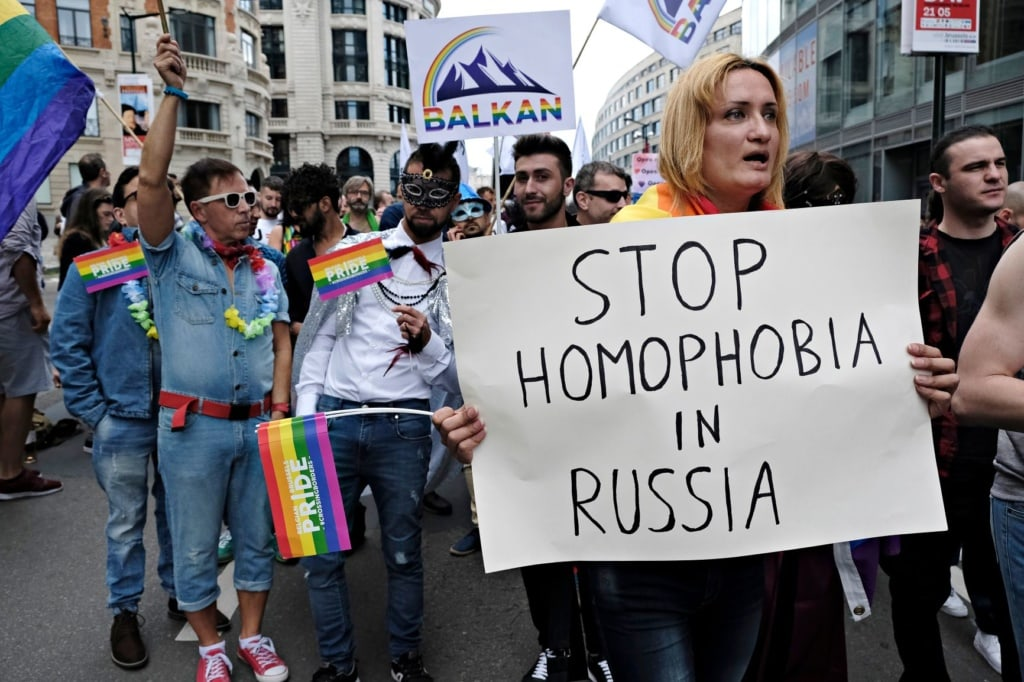Demonstranten gegen Homophobie in Russland