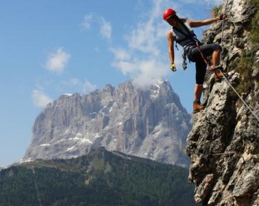 Kletterer in den Dolomiten