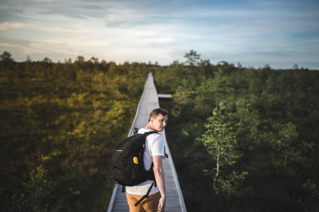 Mann im Wald in Estland auf Holzsteg