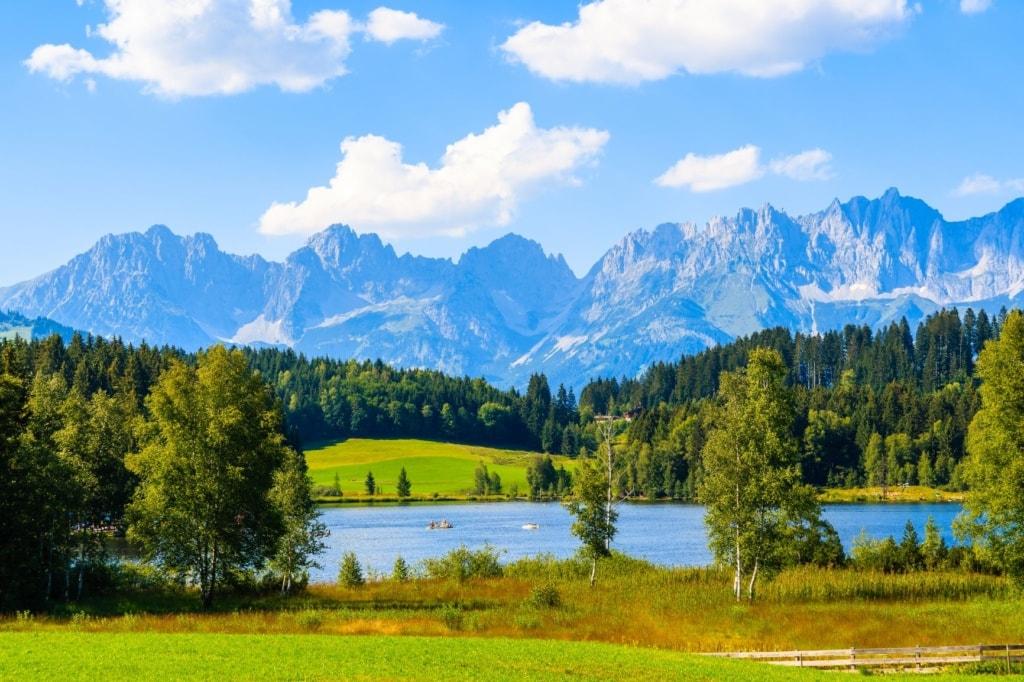 Grüne Wiese auf den Alpen am Schwarzsee am sonnigen schönen Sommertag bei Kitzbühel