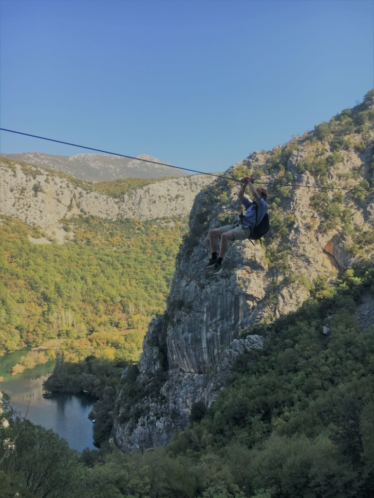 Zipline am Fluss Cetina in Süddalmatien