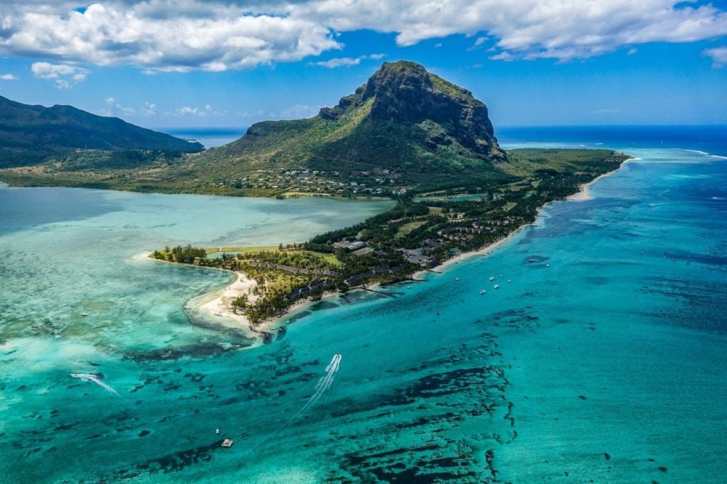 Blick auf Mauritius aus der Luft